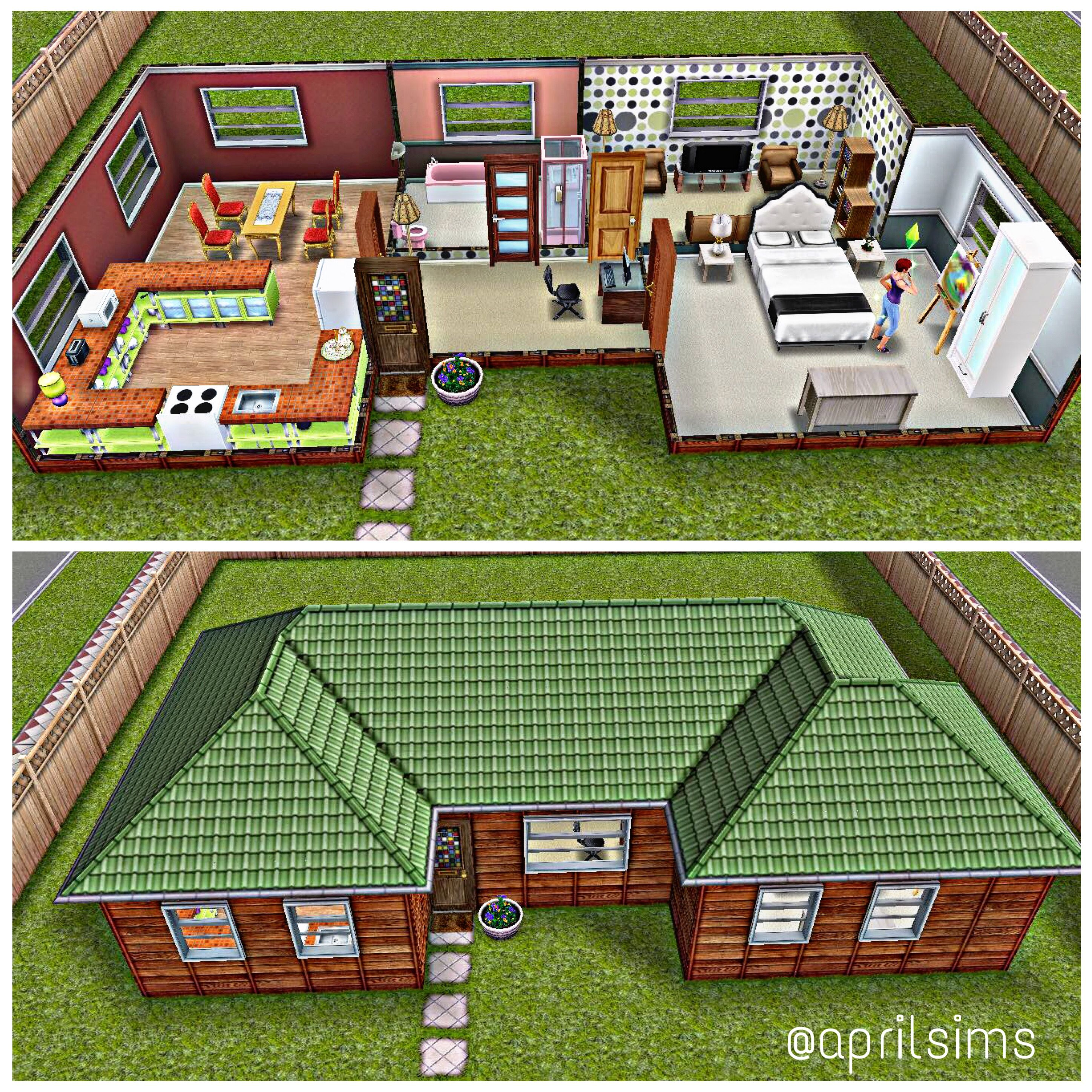 One Of My Houses I Created On Sims Freeplay It Is A Very Simple Small House Good Enough For 1 2 Sims F Sims Freeplay Houses Sims House Sims 4 House Design
