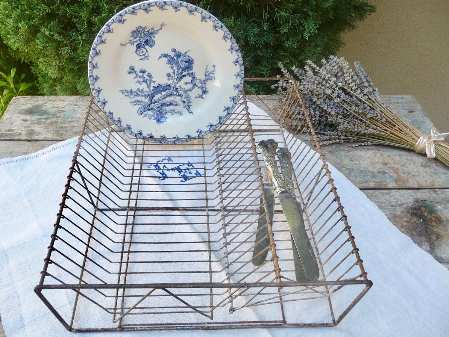 Vintage French Dish Rack Zinc Metal Drainer Basket Tray Shabby Chic Drying Farmhouse Plate Prop By Onefairfaxroad