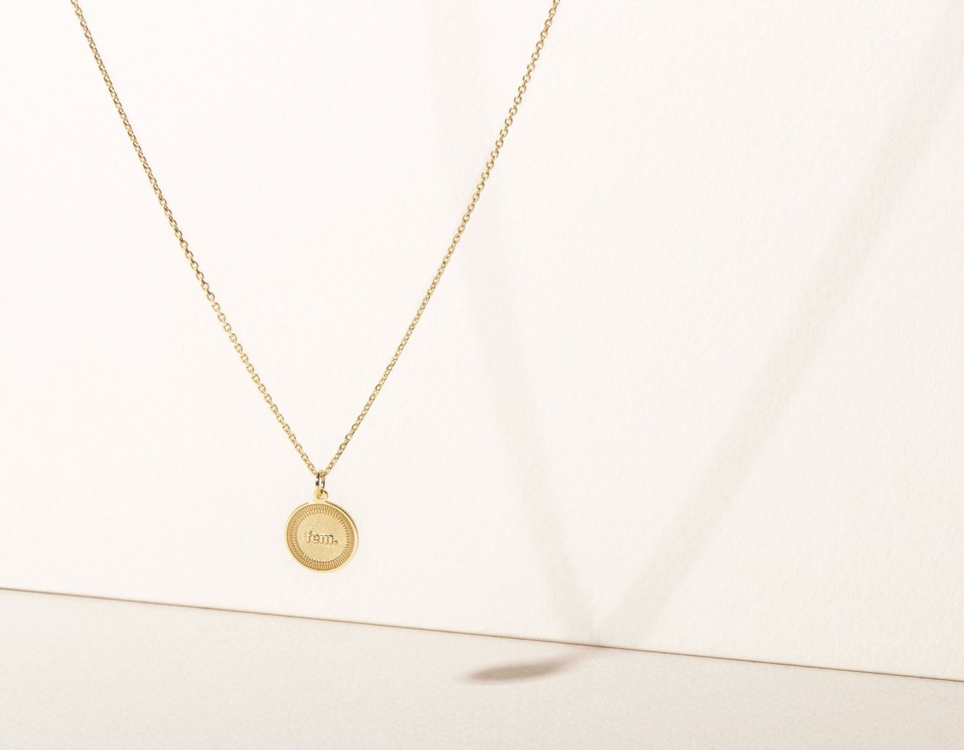 e593aedbfae simple modern 14k solid yellow gold Fem. Necklace circle female pendant on  delicate 18