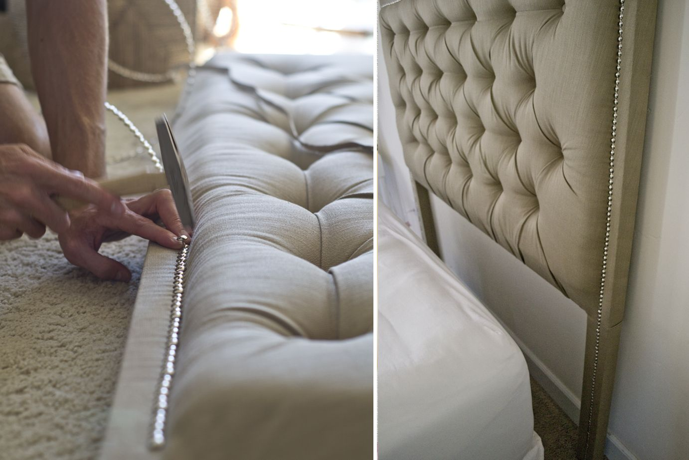 sarah m. dorsey designs: Tufted Headboard with Nailhead | How To | HOME : Furniture | Pinterest