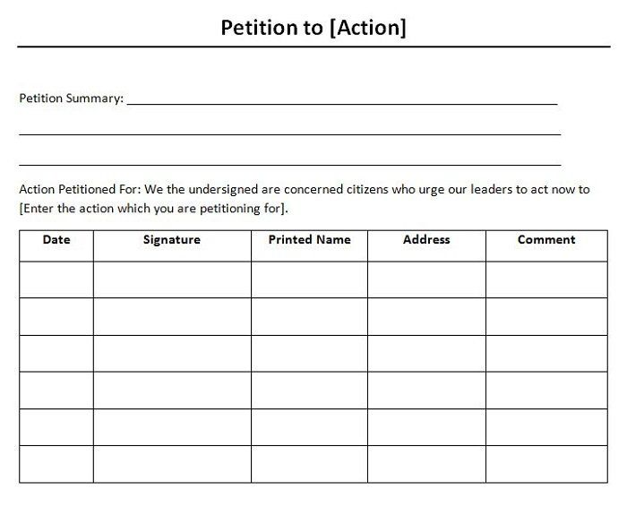 Petition template 05 petition templates Pinterest Templates - how to write petition guide