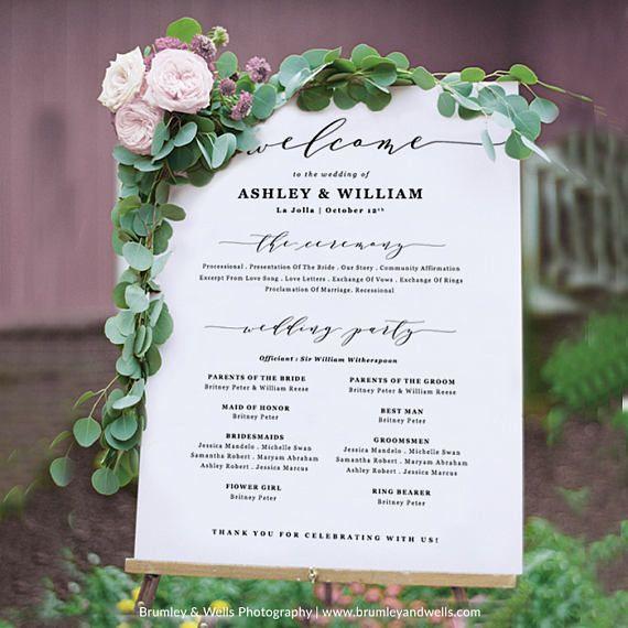 Wedding Program Sign Poster Welcome
