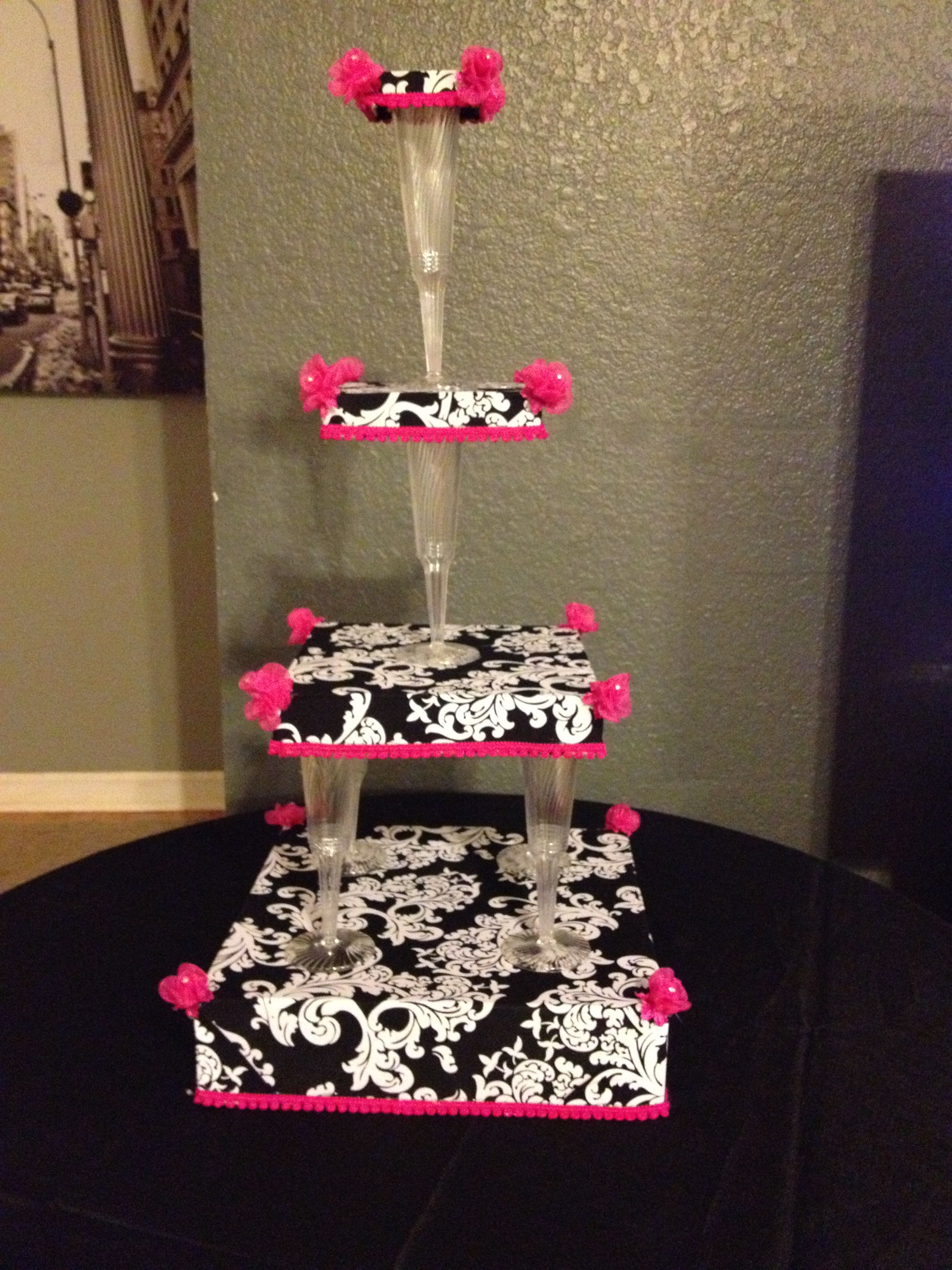 Cupcake stand made from box lids fabric and plastic