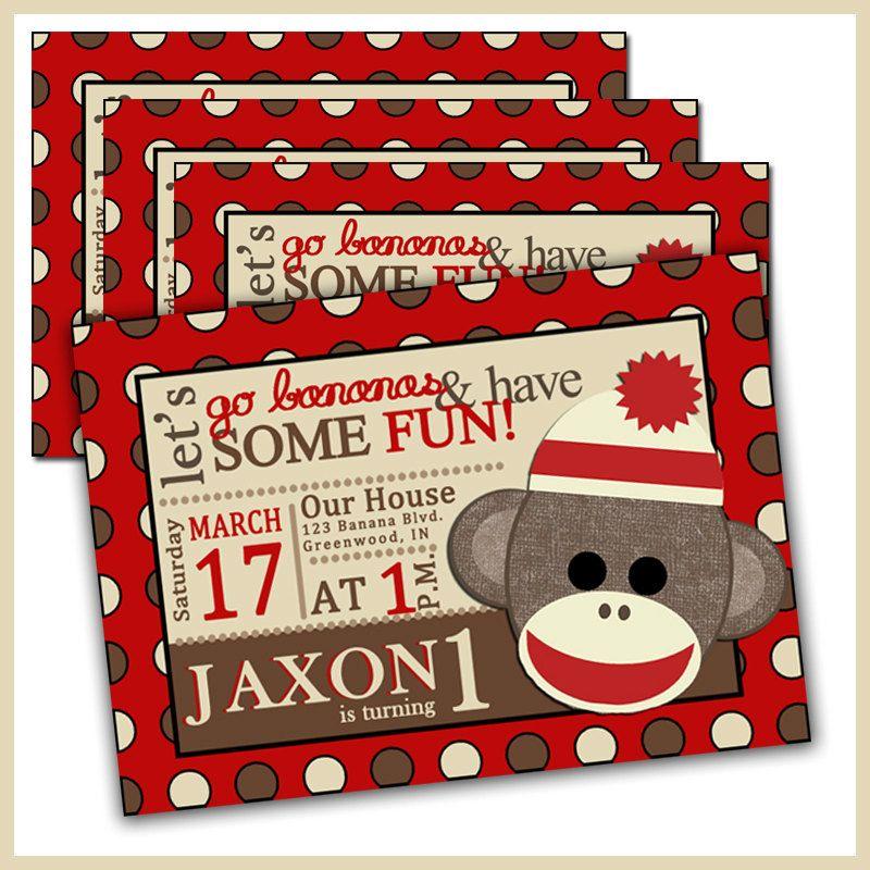 Sock Monkey Birthday Invitations Sock Monkey Invites by LullabyLou ...