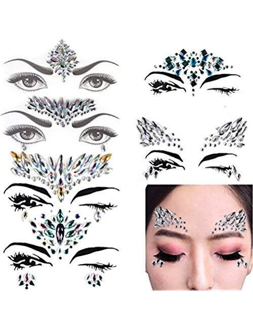 d89fc09ea38 6 Sets Mermaid Face Gems Festival Jewels Crystals Bindi Rainbow ...