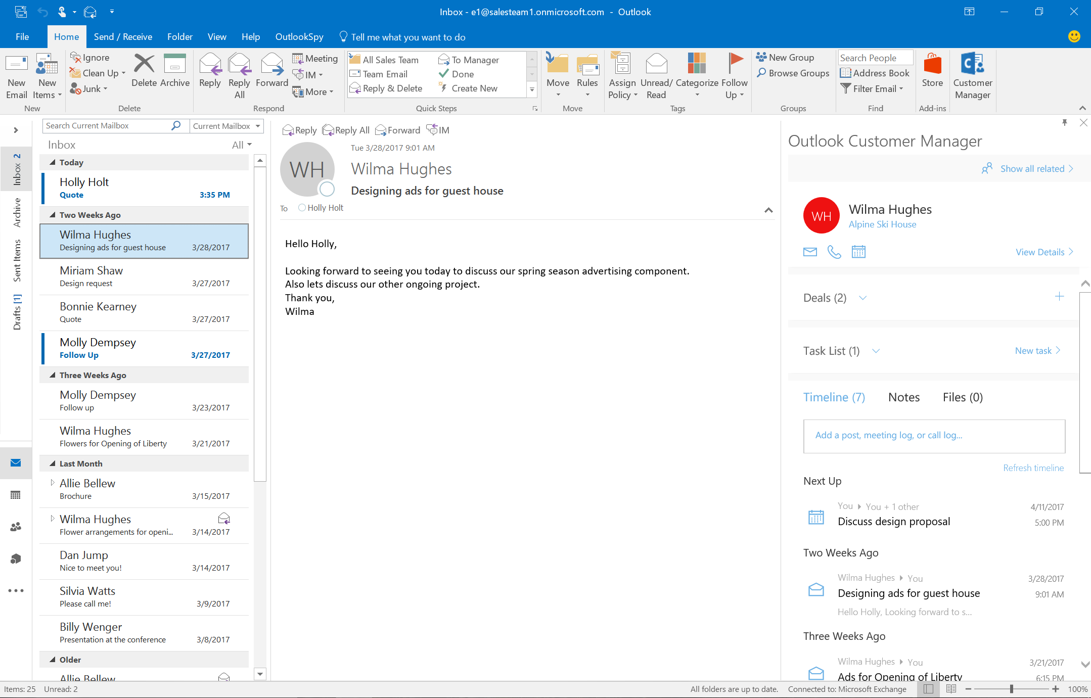 Get started with Outlook Customer Manager Office Support
