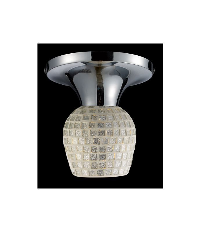 Elk Lighting 10152/1 Single Light Semi-Flush Ceiling Fixture from the Celina Col Polished Chrome / Silver Glass Indoor Lighting Ceiling Fixtures
