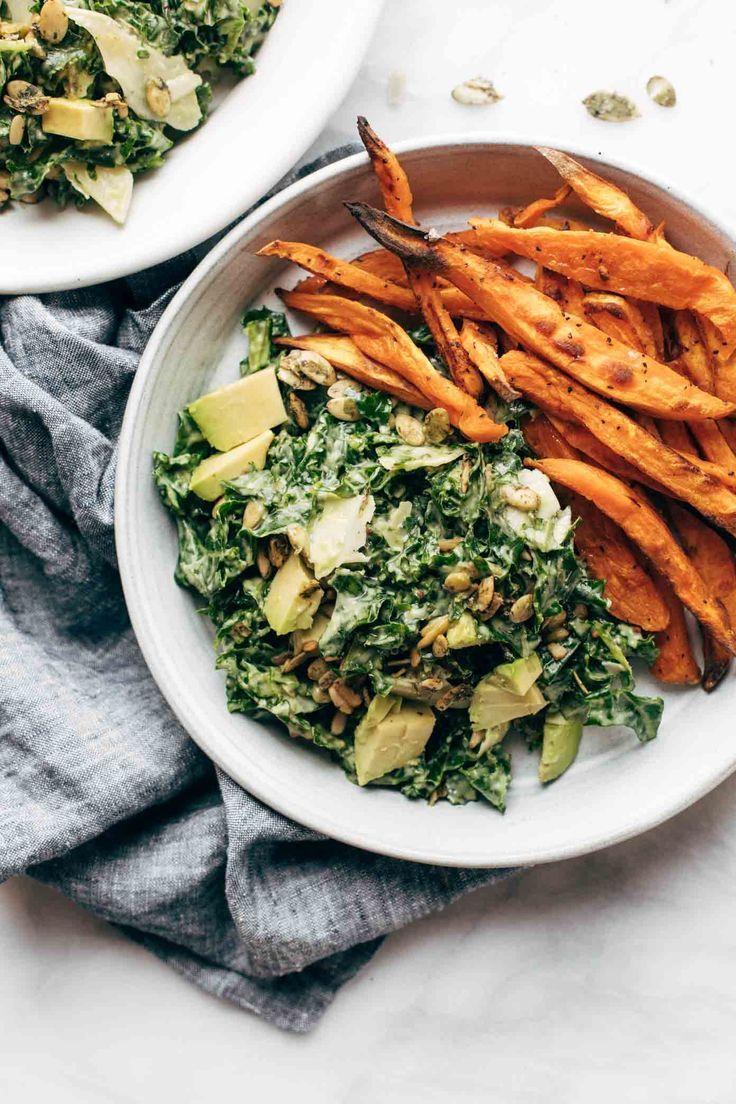 Avocado Kale Caesar Salad + Sweet Potato Fries – Pinch of Yum