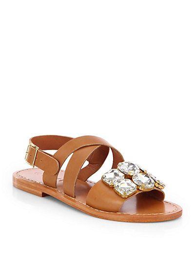 a749af075 Marni - Jeweled Leather Sandals - Saks.com