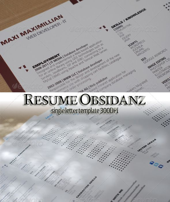 Single Page Resume Letter Fonts, Print templates and Font logo - single page resume template