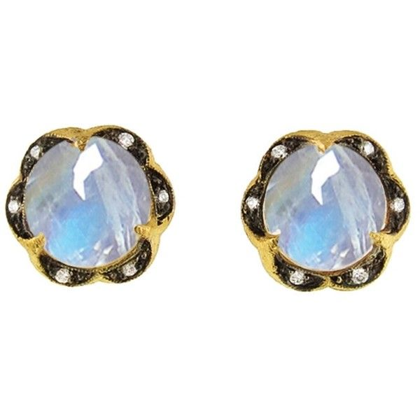 Cathy Waterman Scalloped Rainbow Moonstone Stud Earrings ($2,730) ❤ liked on Polyvore featuring jewelry, earrings, blue, rainbow moonstone earrings, earring jewelry, rainbow moonstone jewelry, blue jewelry and cathy waterman earrings