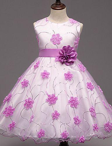 Vestido Chica De Fiestacóctel Floral Poliéster Verano Rosa
