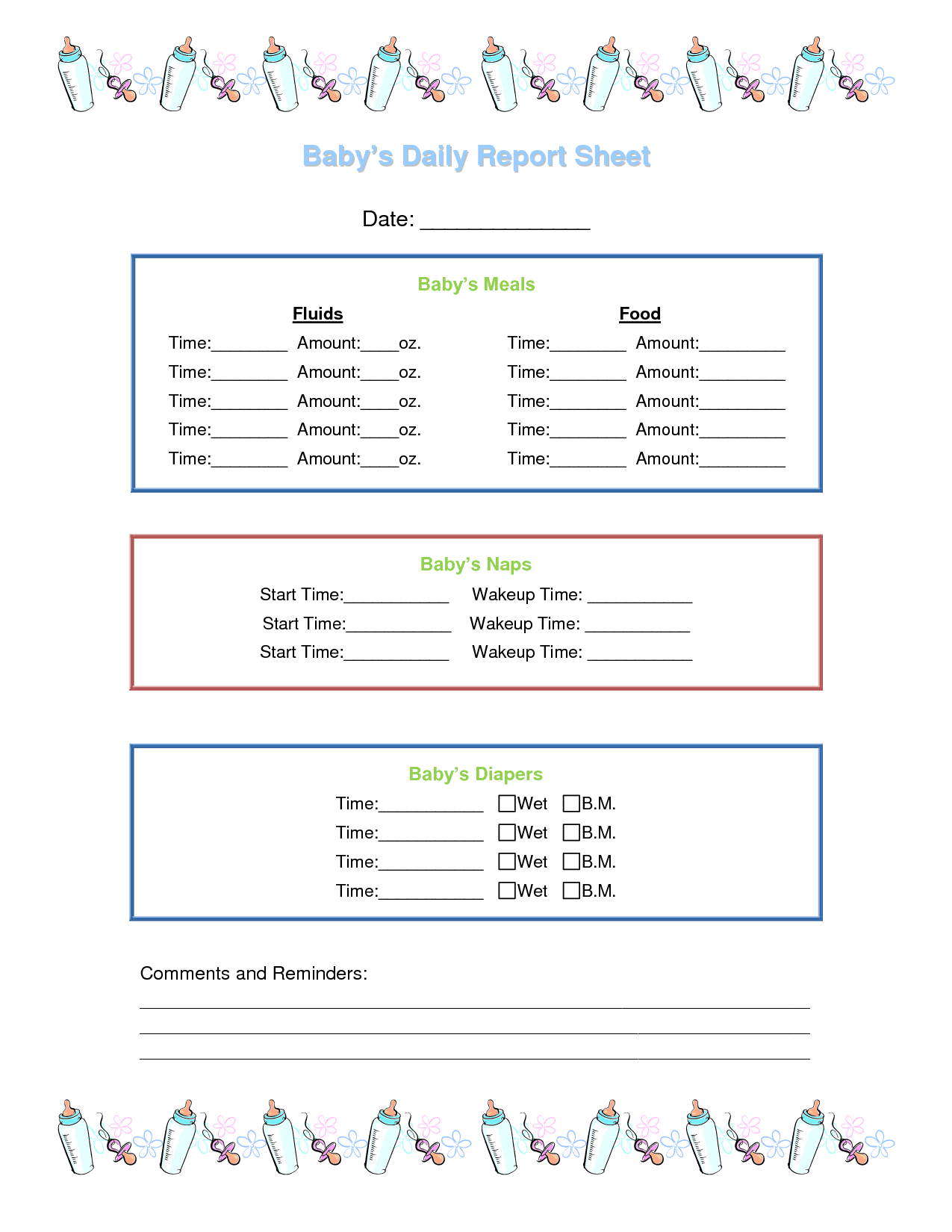 Day Care Daily Report Sheets