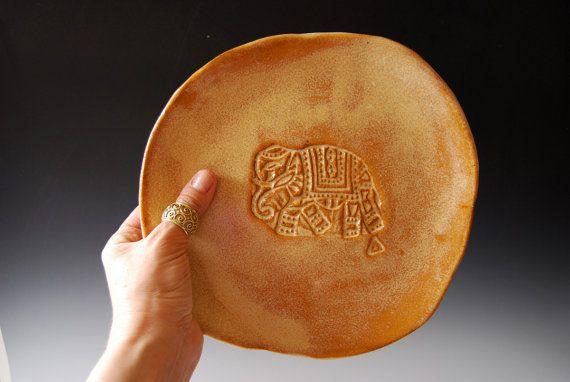 Ceramic plate Handmade Amber - set of 4 Organic shaped Tableware dinner plates withe Elephant motif by BlueDoorCeramics, $125.00