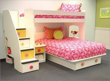 girls beds with drawers stair drawer combo bunk bed in simple girls bedroom design ideas - Basic Bedroom Ideas