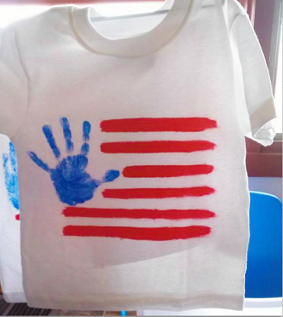 14521689ee74 DIY Handprint American Flag T-Shirt for Kids - 4th of July craft ...