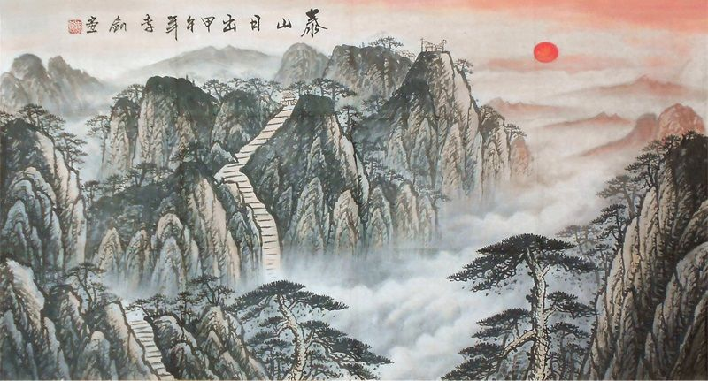 Original Painting Nature Art For Sale Xuan Paper Chinese Scroll Mountain Landscape Painting