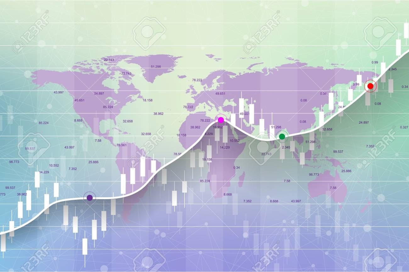 Stock Market And Exchange Candle Stick Graph Chart Of Stock Market Investment Trading On World Map Bac Stock Market Data Stock Market Investing Map Background