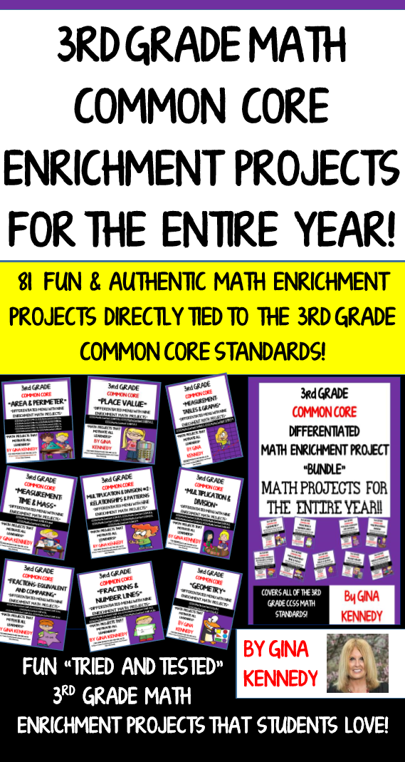 3rd Grade Math Enrichment Projects! For the Entire Year | Math ...