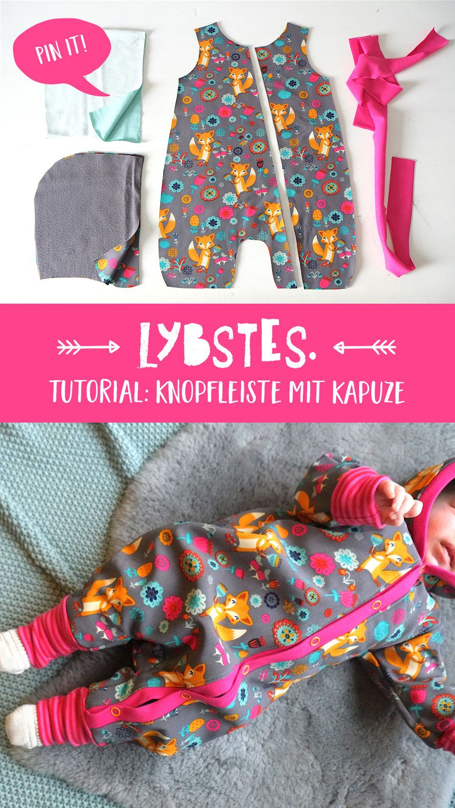 Tutorial: Jumpsuit mit Knopfleiste und Kapuze - Lybstes. | Bebé ...