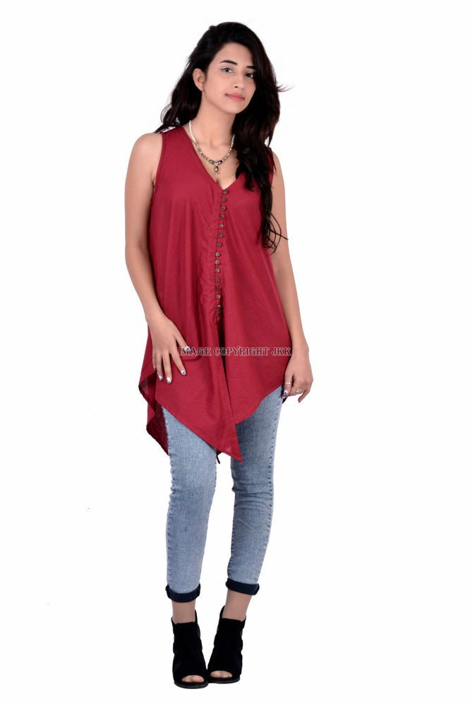 women red color cotton sleevless girls indian top for