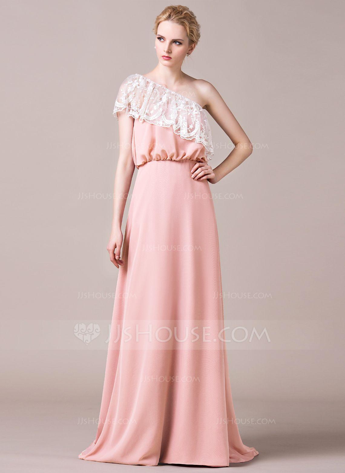 A-Line/Princess Sweep Train Chiffon Lace Bridesmaid Dress With ...