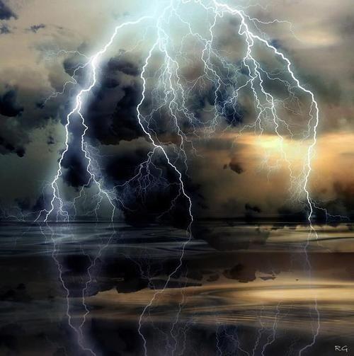 Awesome thunder and lightning