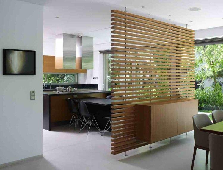 praktische idee aus holz mit sideboard und raumteiler in einem ... - Raumteiler Wohnzimmer Modern