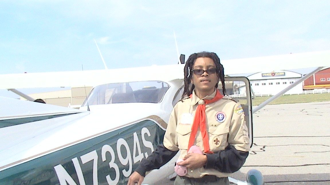 Earning his Aviation Merit badge by learning how to fly