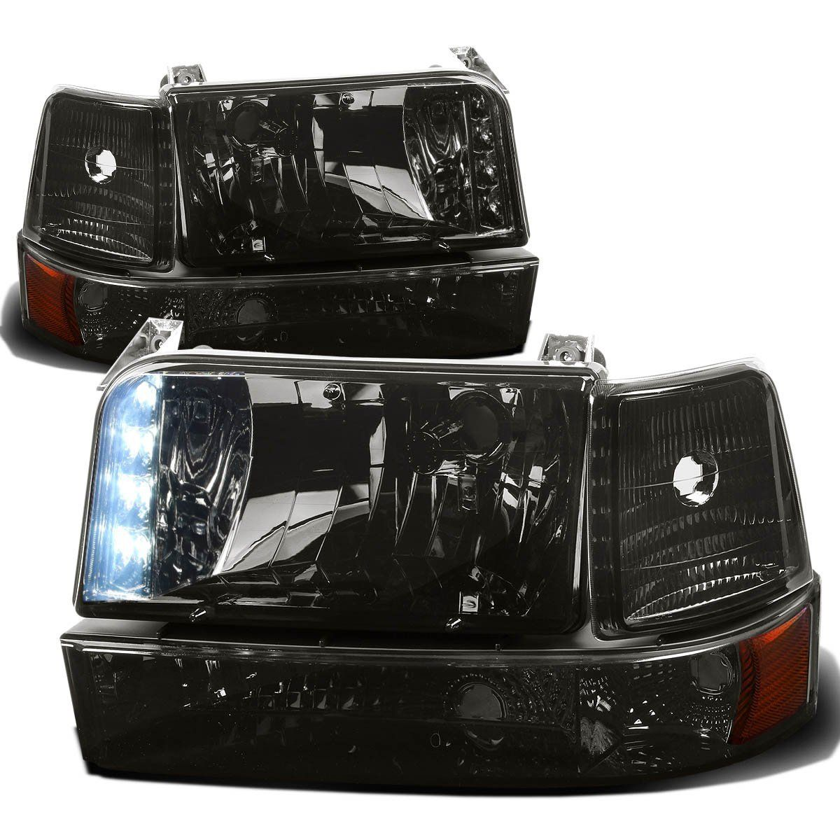 92 96 Ford Bronco F150 F250 Led Drl Headlights Bumper Corner Smoked Amber With Images Ford F150 1996 Ford F150 Bronco