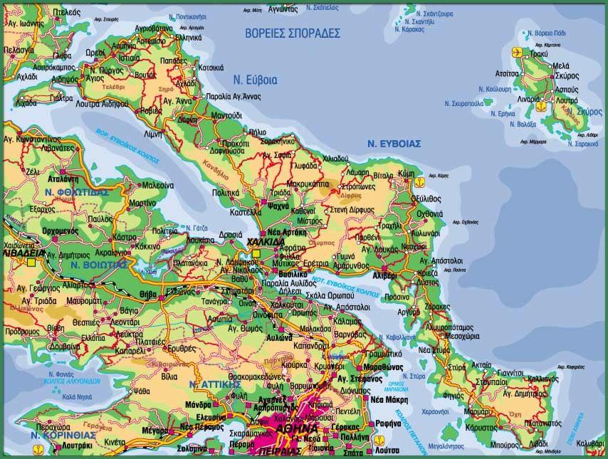 Evia Island Map Island Map Evia