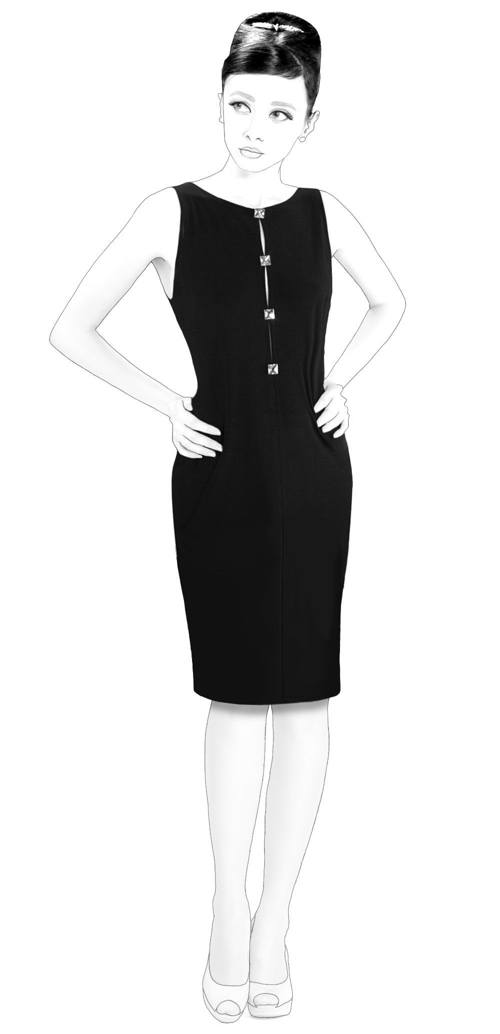 Dress With Buttoned Slit In Front - Patrón de costura #S4004 Patrón ...