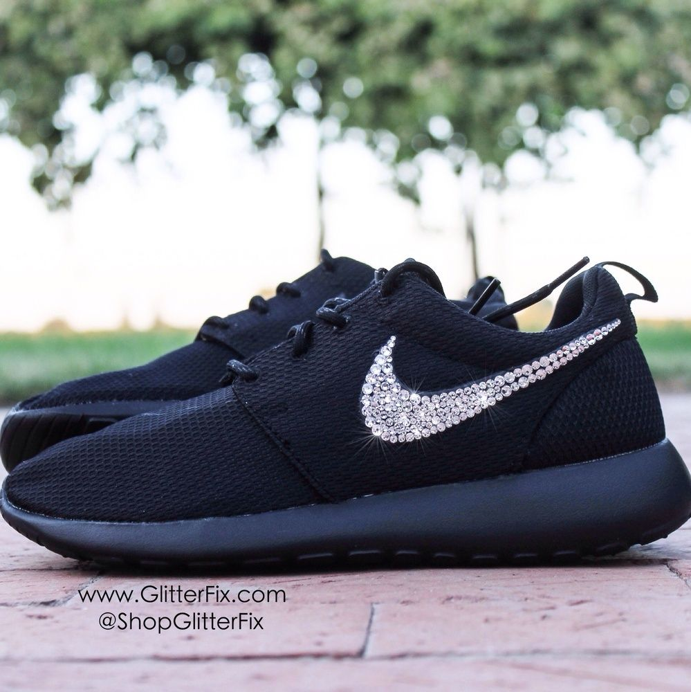 Women\'s Nike Roshe w/ Swarovski Rhinestones - Black / Glitterfix