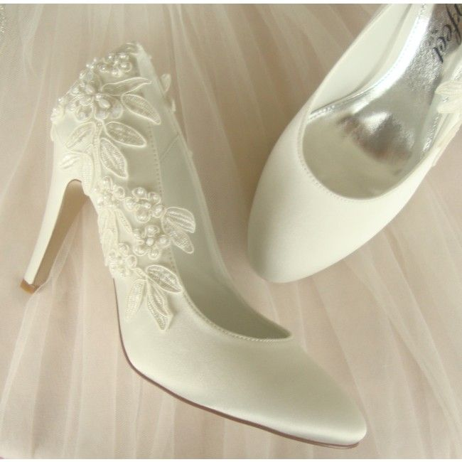 GBP75 Ivory Lace Trim WeddingShoes FREE DELIVERY
