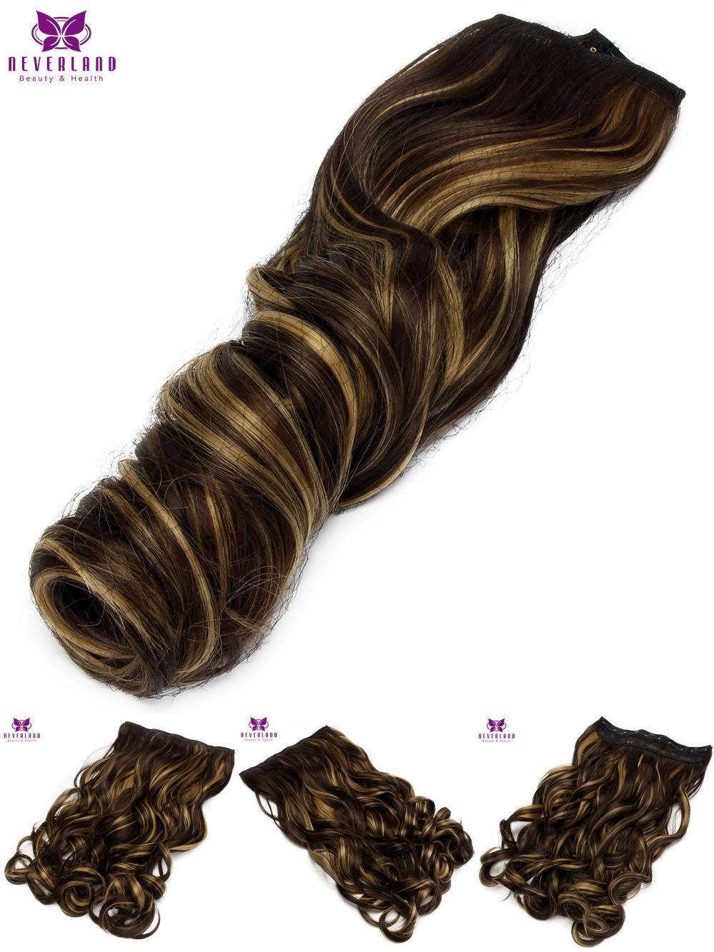 Visit To Buy Neverland 22 55cm 5clips 4h27 Mix Color Hairpiece