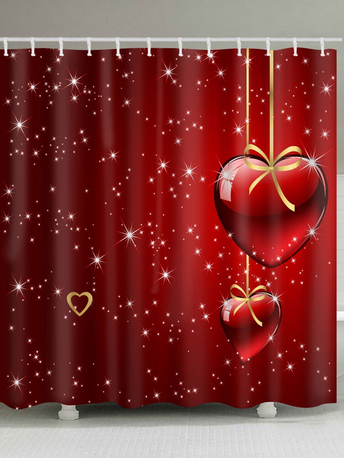 Hearts Starlight Print Valentine S Day Waterproof Shower Curtain