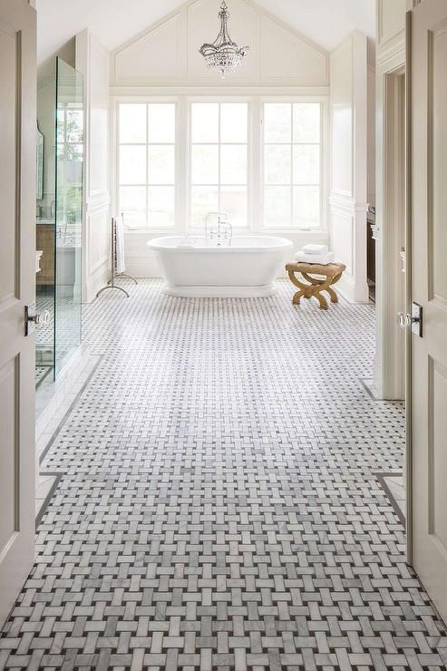 Master Bathroom With High Ceiling And Marble Basketweave Floor Transitional Bathroom Basketweave Tile Bathroom Classic Bathroom White Marble Mosaic