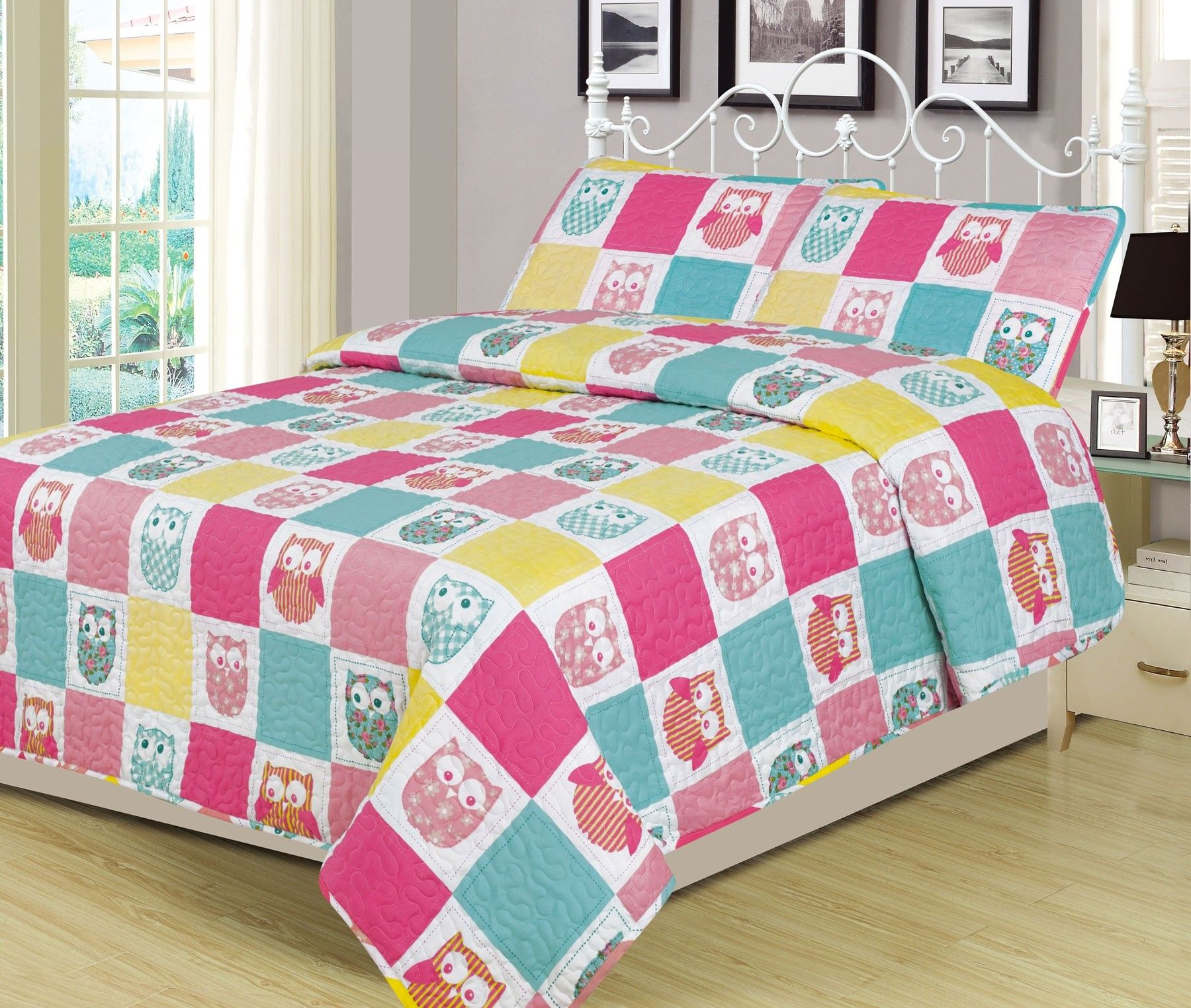 Beatrice Home Fashions Owl Patchwork Full 3 Piece Bed Set Quilt