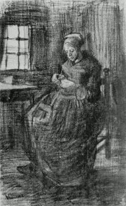 Vincent van Gogh: Interior with Peasant Woman Sewing Nuenen: March, 1885 (Otterlo, Kröller-Müller Museum) #Art