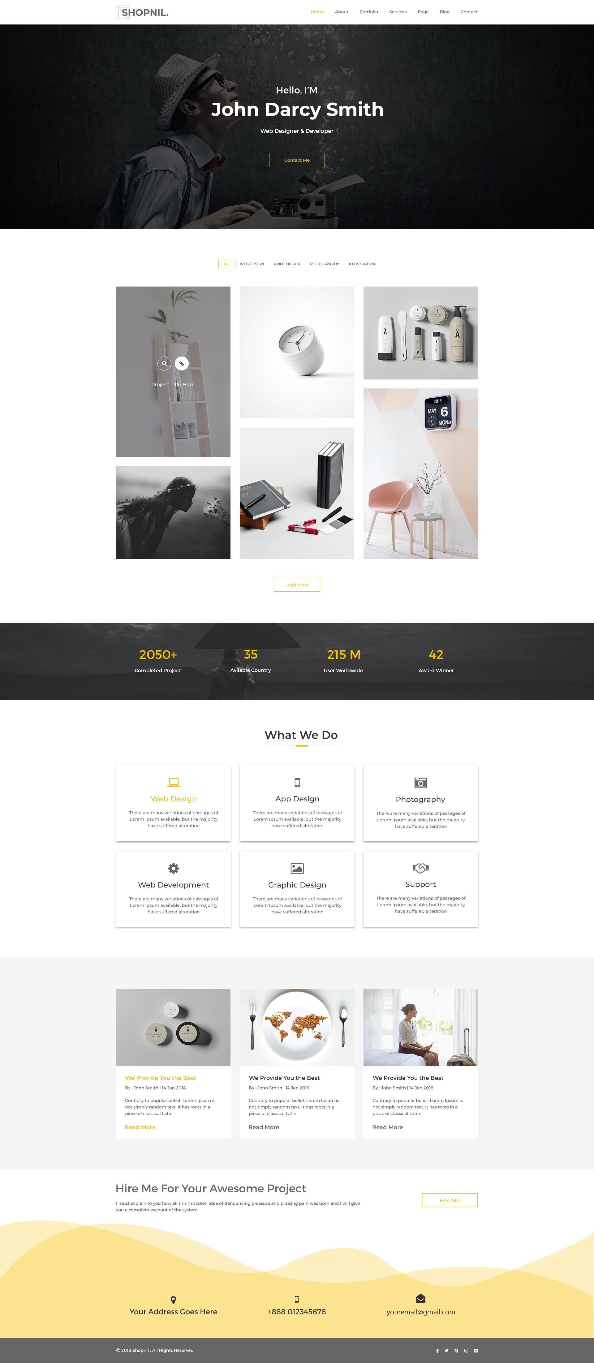 Shopnil - Portfolio PSD Template | Pinterest | Psd templates ...
