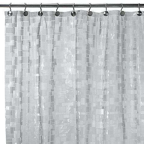 Complement Any Bathroom Decor With This Translucent Shower Curtain Featuring An Interlocking Pattern Of Squares And Triangles In Various Textures That Look
