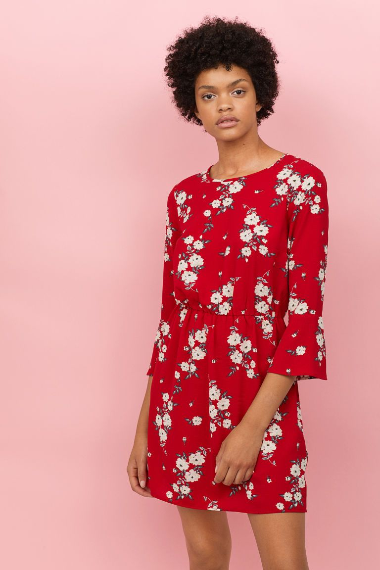 08ace25e5a6 Crêped Dress - Red floral - Ladies