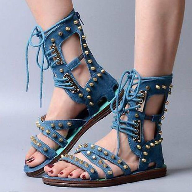 cd050ba13415f L Vogue Womens Punk Roma Gladiator Suede Lace Up Open Toe Sandals Boot Flat  Heel