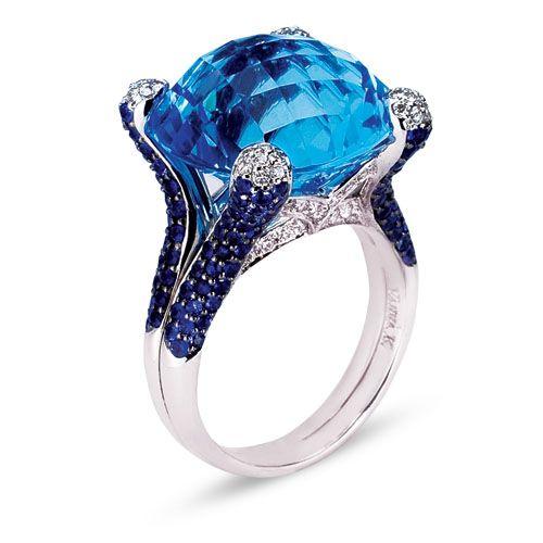 unique micro pave setting engagement ring - Vanna K
