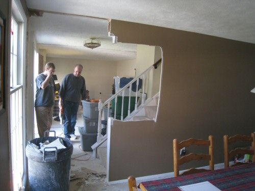 removing wall from staircase how to remove stud walls to create an open floor plan entry. Black Bedroom Furniture Sets. Home Design Ideas
