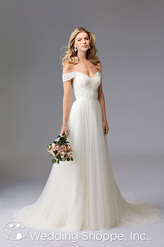 Contemporary The Wtoo Heaton Wedding Dress Stuns In Soft Netting With A Fl Lace Underlay On Bodice D Off Shoulder Sleeves And Volumi