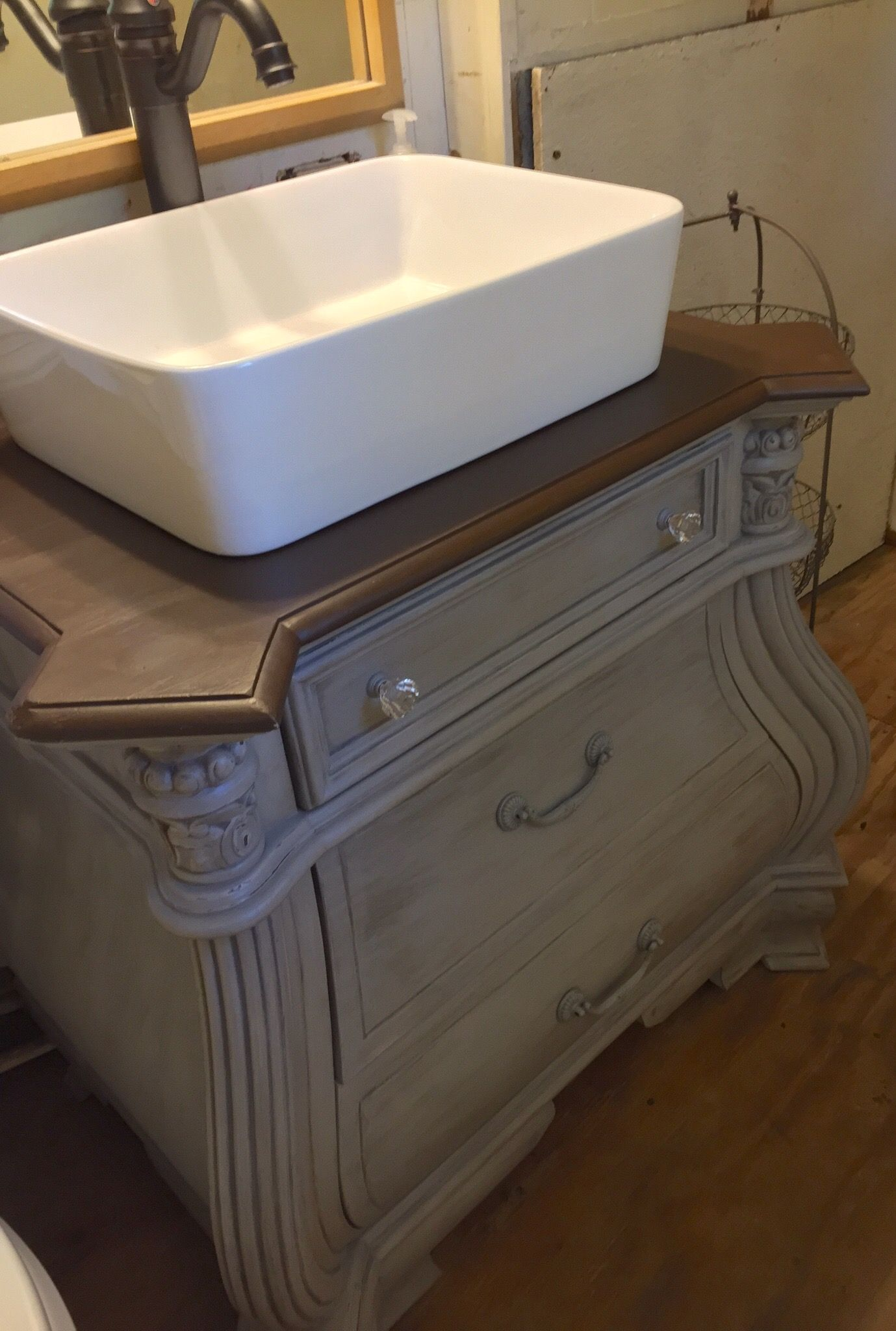 Diy Nightstand To Bathroom Vanity I Used Waverly Chalk
