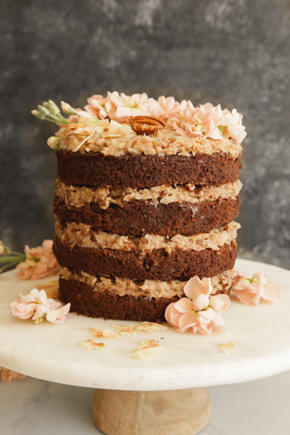 Sweet Laurel German Chocolate Cake With Coconut Pecan Frosting Recipe Recipe In 2020 Gluten Free German Chocolate Cake Gluten Free German Chocolate Cake Recipe Coconut Pecan Frosting