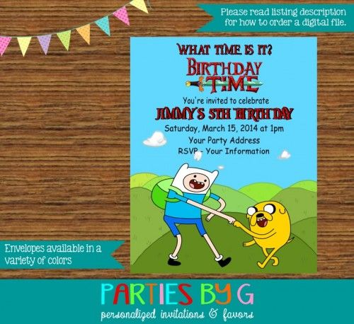 Adventure Time Birthday Party Invites Invitations Custom