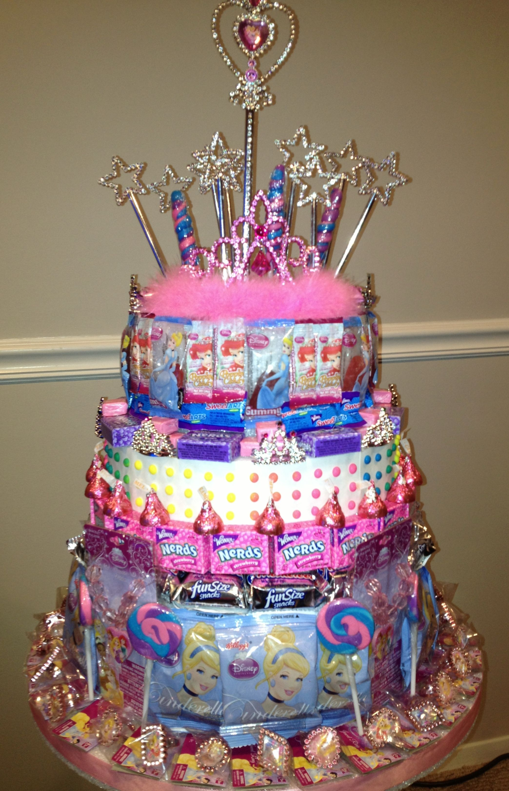 Disney princess party candy cake tower filled with
